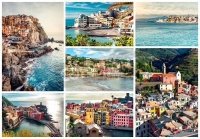 Наклейка Collage of most famous landmarks in Italy. Italian Riviera-Genoa, Manarola, Vernazza, Bogliasco, Santa Margherita.