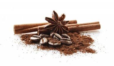 Наклейка Сборник кофе в зернах с кофейного порошка на белом