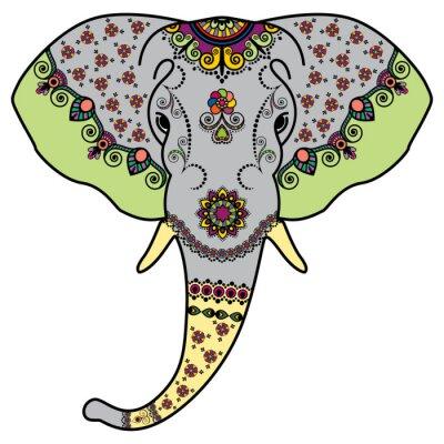 Наклейка Голова Цвет слона в Менди индийском стиле. Векторные иллюстрации на белом фоне