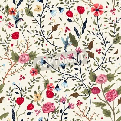 Наклейка красочные очаровательны бесшовные цветочный узор на бежевом фоне
