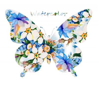 Наклейка Красочные бабочки на белом фоне