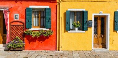 Наклейка Красочный фасад дома в Бурано, Италия
