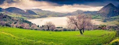 Наклейка Colorful morning panorama of the lake Rosamarina