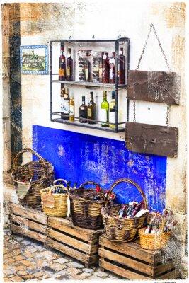 Наклейка красочные магазины старого города Обидуш в Португалии, художественная фотография