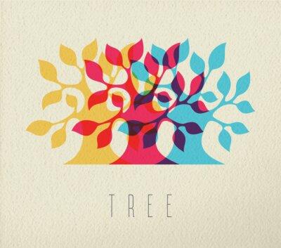 Наклейка Красочные силуэт дерева концепции фон