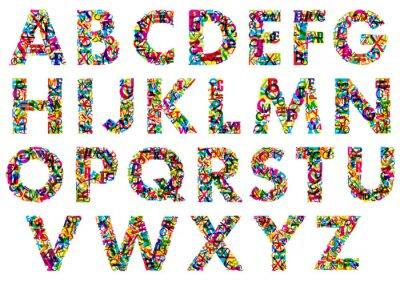 Наклейка Красочные прописные буквы алфавита