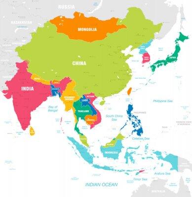 Наклейка Красочная векторная карта Восточной Азии