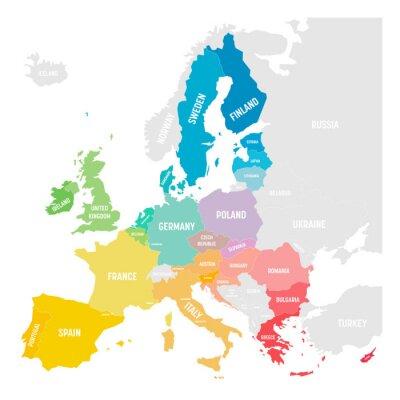 Наклейка Colorful vector map of EU, European Union, member states
