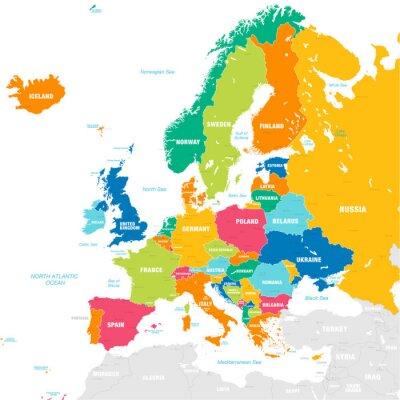 Наклейка Красочная векторная карта Европы