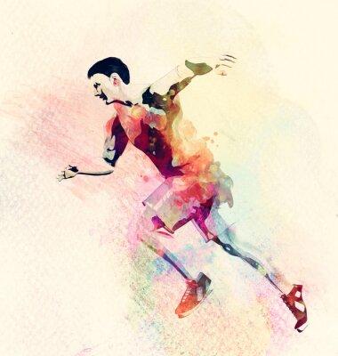 Наклейка Красочные акварель бегущего человека. Абстрактный творческий фон спорт