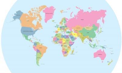 Наклейка Цветная политическая карта мира вектор