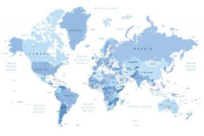 Наклейка Красочная иллюстрация карты мира с указанием названий стран, штатов (США и Австралия), столиц, крупных озер и океанов. Печать не менее 36