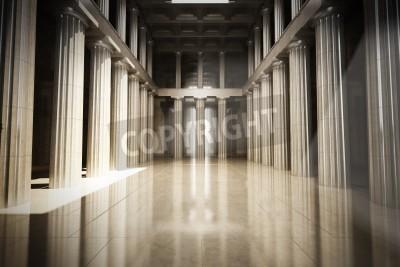 Наклейка Колонка интерьер пустой комнате, закон или правительство фоне концепция, 3d модели сцены