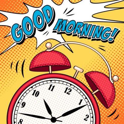 Наклейка Комикс иллюстрация с будильником в стиле поп-арт
