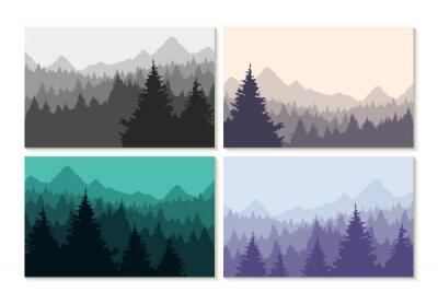 Наклейка Концепция иллюстрации зимний набор лесных ландшафтов