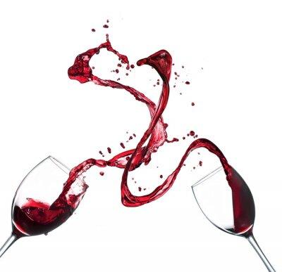 Наклейка Концепция красного вина брызг из стекла на белом фоне
