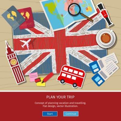 Наклейка Концепция путешествия или изучение английского языка.