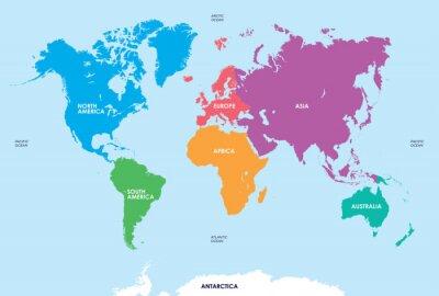 Наклейка Континентов мира, карта