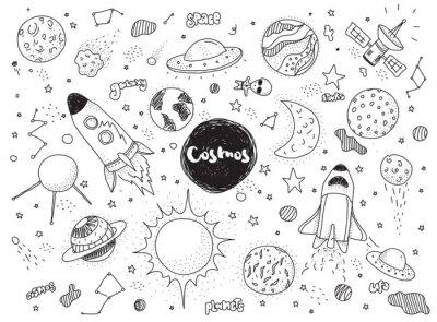 Наклейка Космические объекты установлены. Ручной обращается вектор каракулей. Ракеты, планеты, созвездия, нло, звезды и т.д. Космическая тема.