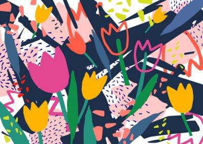 Наклейка Творческий горизонтальный фон с цветами тюльпана и красочные абстрактные пятна и каракули. Яркий цветной декоративный фон. Модные художественные векторные иллюстрации в стиле современного искусства.