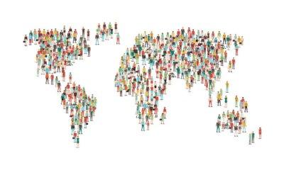 Наклейка Толпа людей, составляющих карту мира