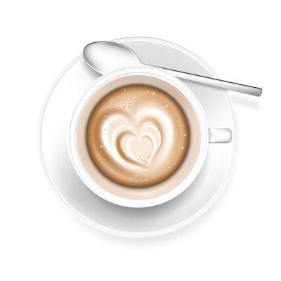 Наклейка Чашка кофе с формы сердца в пене