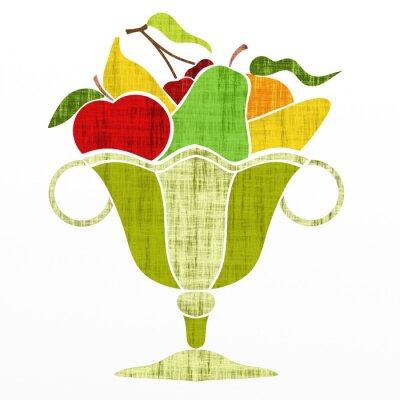 Наклейка чашка с фруктами