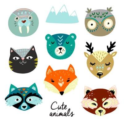 Наклейка Cute animals faces. Hand drawn baby design