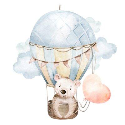 Наклейка Cute cartoon baby bear animal hand drawn watercolor bunny illustration with air balloon. kids nursery wear fashion design, baby shower invitation card.