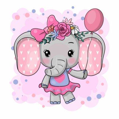 Наклейка Cute Cartoon Elephant with flowers on a white background