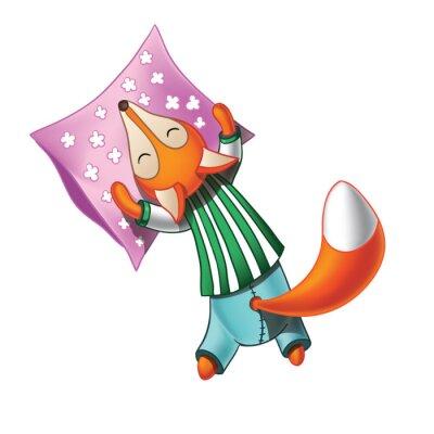 Наклейка Симпатичный мультфильм лиса в пижаме спит