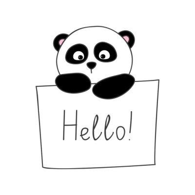 Наклейка Симпатичный мультфильм панда на белом