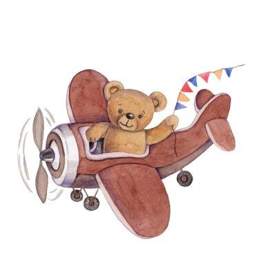 Наклейка Cute cartoon toy animal teddy bear in plane, watercolor illustration, hand draw, isolated on white.