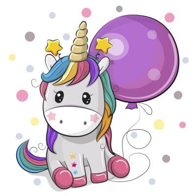 Наклейка Милый мультфильм единорог с воздушным шаром