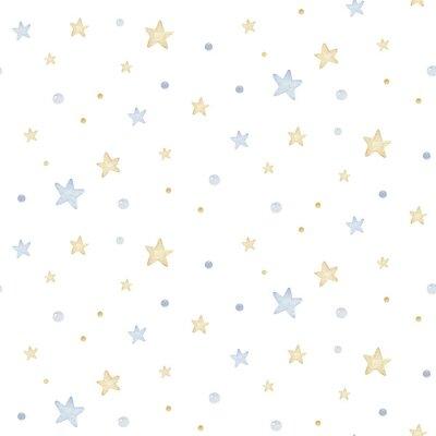 Наклейка Cute dreaming cartoon animal hand drawn watercolor seamless pattern. Sleeping charecher kids nursery wear fashion design, baby shower invitation