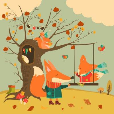 Наклейка Симпатичные лисы ездить на качелях в осенний лес