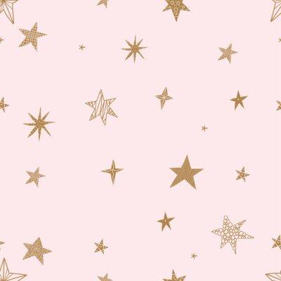 Наклейка Милые золотые звезды. Бесшовные векторные шаблон Бесшовные шаблон может использоваться для обоев, узорные заливки, фон веб-страницы, текстуры поверхности.