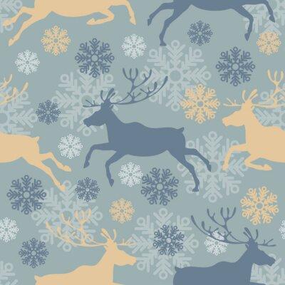 Наклейка Симпатичные Рождеством бесшовные модели с оленями и снежинками. Урожай векторные иллюстрации.