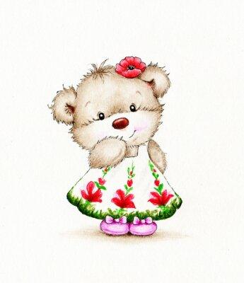 Наклейка Симпатичные Медвежонок девочка