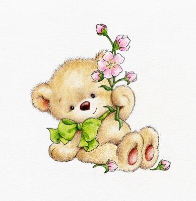 Наклейка Симпатичные плюшевый мишка с цветами
