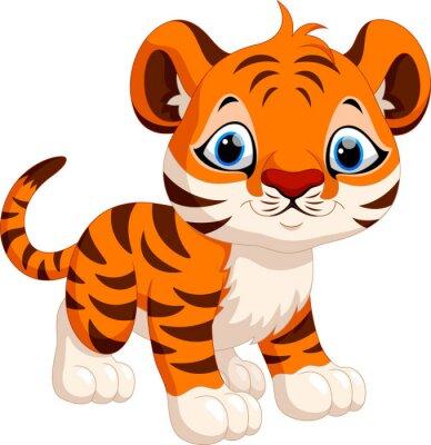 Наклейка Симпатичный тигр мультфильма
