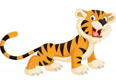 Наклейка Cute tiger cartoon roaring