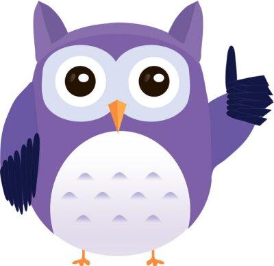 Наклейка Симпатичные вектор фиолетовый сова показывает большой палец вверх