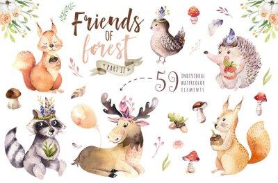 Наклейка Смазливая акварель богемный ребенок мультфильм еж, белка и лося животных для детей, леса изолированных лес иллюстрации для детей. Кролики животные.