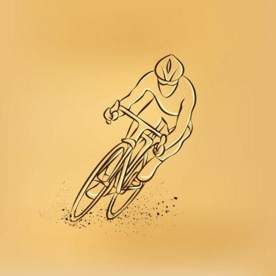 Наклейка Велоспорт гонки. Передний план. Вектор ретро рисунок иллюстрации.