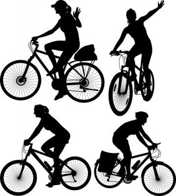Наклейка езда на велосипеде силуэты