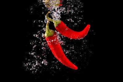 Наклейка Czerwona papryka wpadająca делать wody