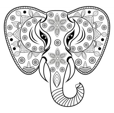 Наклейка Украшенные слон головы вектор, Теста ди Elefante decorato vettoriale isolato су Sfondo Bianco