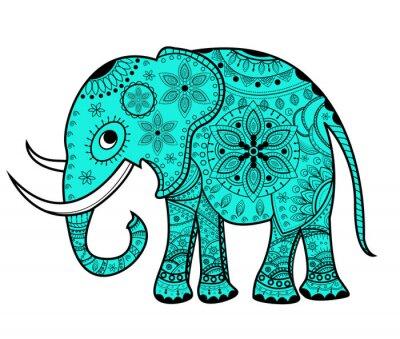 Наклейка Украшенные вектор слона, Elefante vettoriale decorato