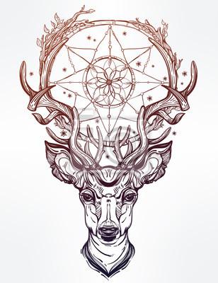 Наклейка Голова оленя и мечта зрелище.